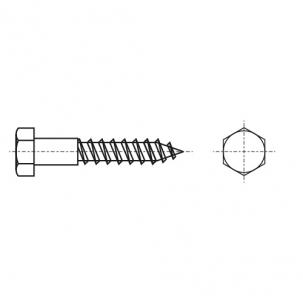 DIN 571 цинк Шуруп сантехнічний з шестигранною головкою