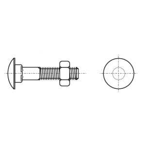 DIN 603 A4 Болт з напівкруглою головкою і квадратним підголовником