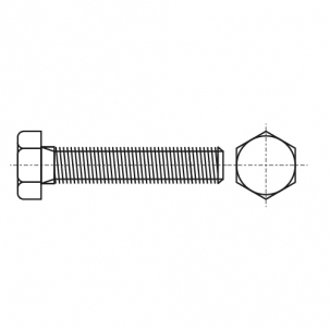 DIN 933 A4-70 PL Болт з шестигранною головкою і повною різьбою і прямим шліцом