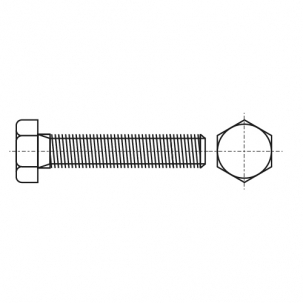DIN 961 A2 Болт з шестигранною головкою і повною різьбою, дрібний крок різьби
