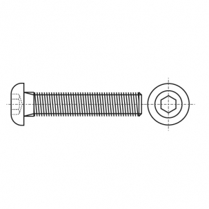 ISO 7380-1 A2 Болт з напівкруглою головкою і внутрішнім шестигранником