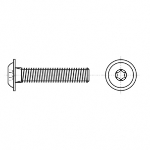 ISO 7380-2 A2 Болт с полукруглой головкой под torx с фланцем