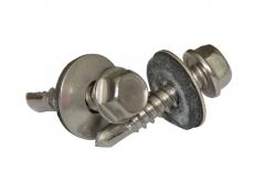 DIN 7504 КО цинк Саморез с шестигранной головкой с шайбой EPDM и буром