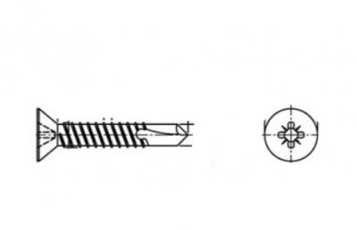 DIN 7504 O A2 Саморез с потайной головкой и буром PZ