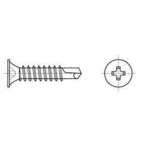 DIN 7504 O цинк Саморез с потайной головкой и буром PH