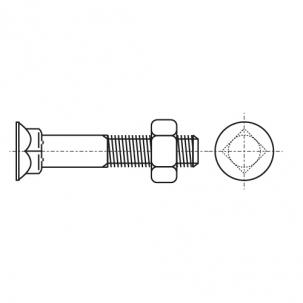 Спецболт 1199-A (DIN 608) 8,8 з потайною головкою та квадратним підголовником