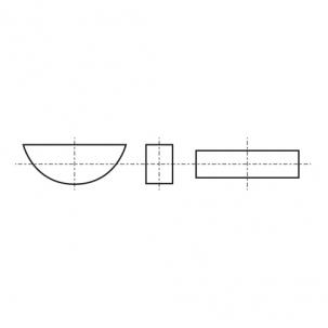 DIN 6888 Шпонка сегментна напівкругла без покриття