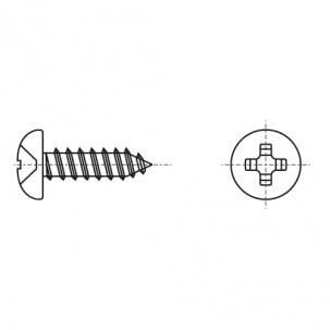 DIN 7981-C цинк черный Саморез с полукруглой головкой PH