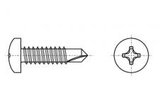DIN 7504 M (N) A4 Саморез с полукруглой головкой и буром под torx