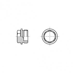DIN 7604-A без покриття Заглушка різьбова з шестигранною головкою і фланцем