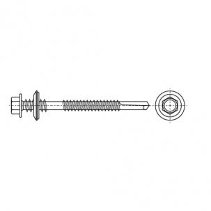 AN 213 цинк платков Саморез с шестигранной головкой для сэндвич-панелей с шайбой EPDM, мелкий шаг - Dinmark