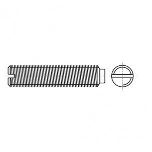DIN 417  без покрытия Винт установочный с цилиндрическим концом и прямым шлицем 14H