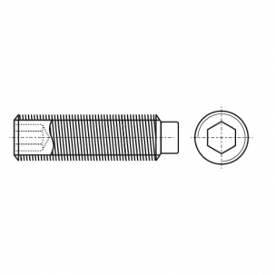 DIN 915 цинк Гвинт установочний з внутрішнім шестигранником і цапфою