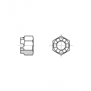 DIN 935 6 Гайка корончатая с мелким шагом