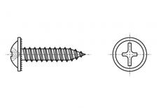 DIN 968-C цинк чорний Саморіз з напівкруглою головкою і прес-шайбою PH