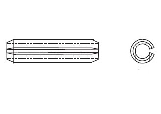DIN 7346 Штіфт пружинний циліндричний з прорізом без покриття