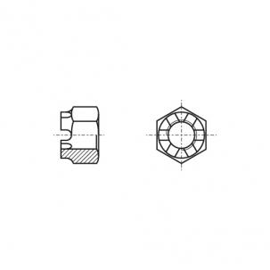 DIN 935 8 цинк Гайка корончата з дрібним кроком - Dinmark