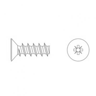 ART 7531 цинк Шуруп Plsfast для термопластика з потайною головкою, різьба 30°, шліц PZ