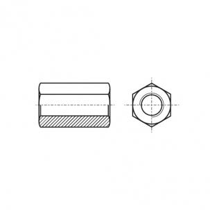 DIN 6334 10 цинк платковий Гайка висока шестигранна
