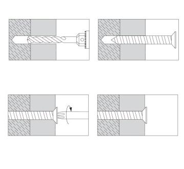 Гвинт для бетона TVGSB з потайною головкою, фарбована головка - Dinmark