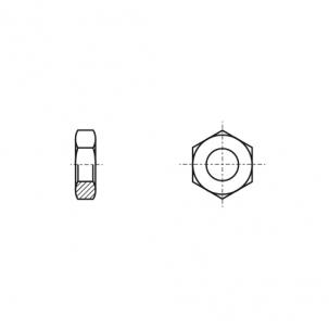 DIN 439 A4 Гайка низкая шестигранная с мелким шагом и левой резьбой