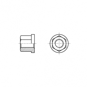 DIN 6331 10 Гайка высокая шестигранная с фланцем