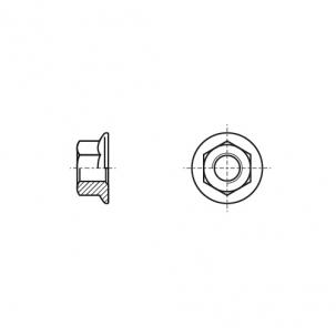 DIN 6923 А4 Гайка шестигранная с фланцем зубчатая