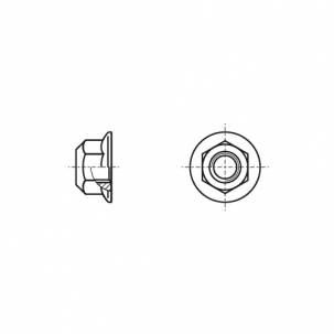 DIN 6927 10 цинк платковый Гайка самоконтрящаяся с фланцем с мелким шагом