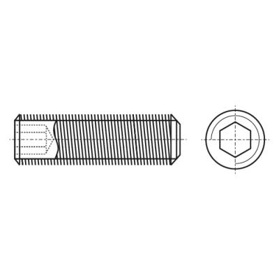 DIN 913 Гвинт установочний з внутрішнім шестигранником і дрібним кроком