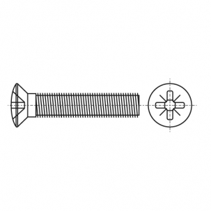 DIN 966 A2 Винт с полупотайной головкой и крестообразным шлицем PH